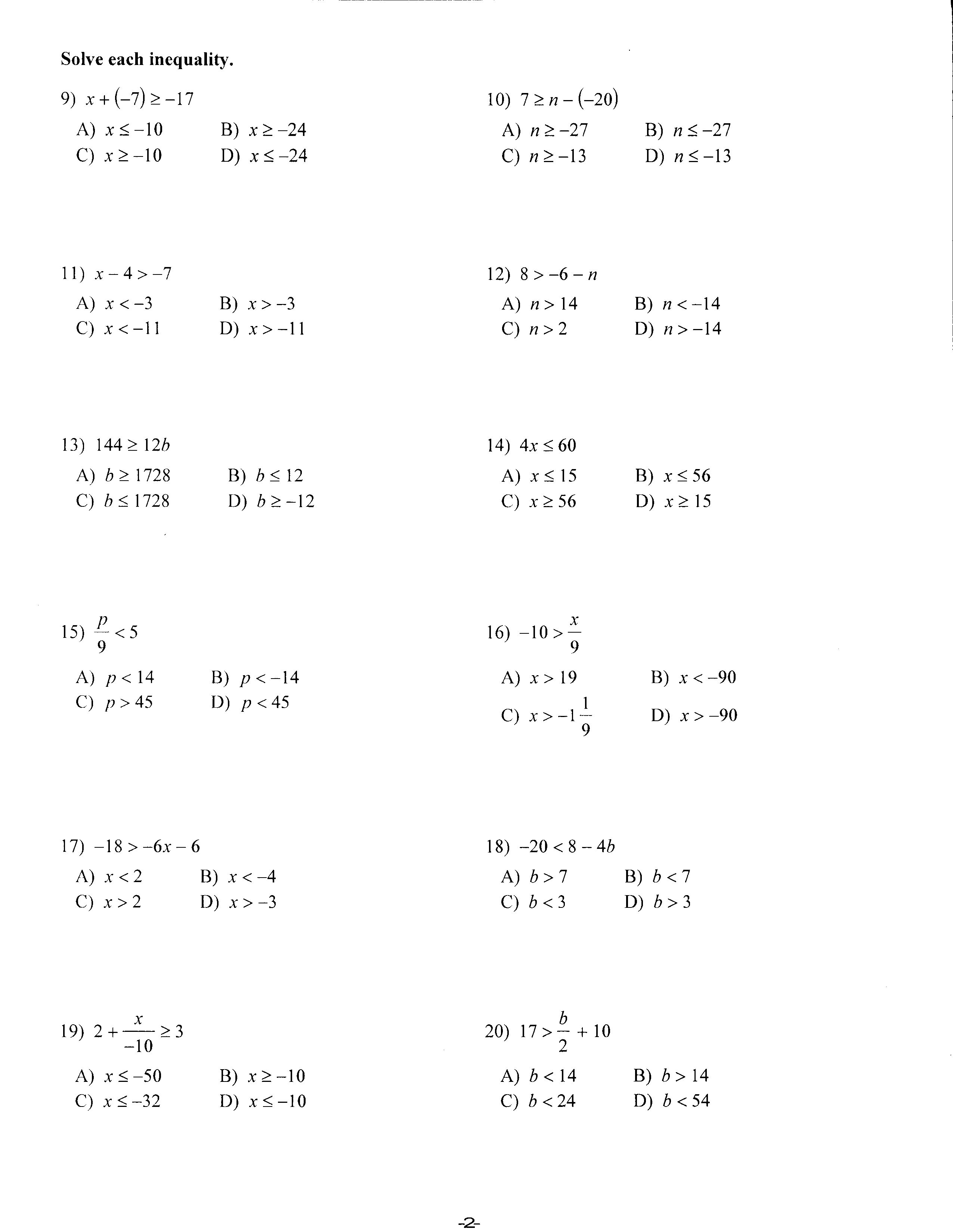 Alegbra Math Worksheet Grade 12