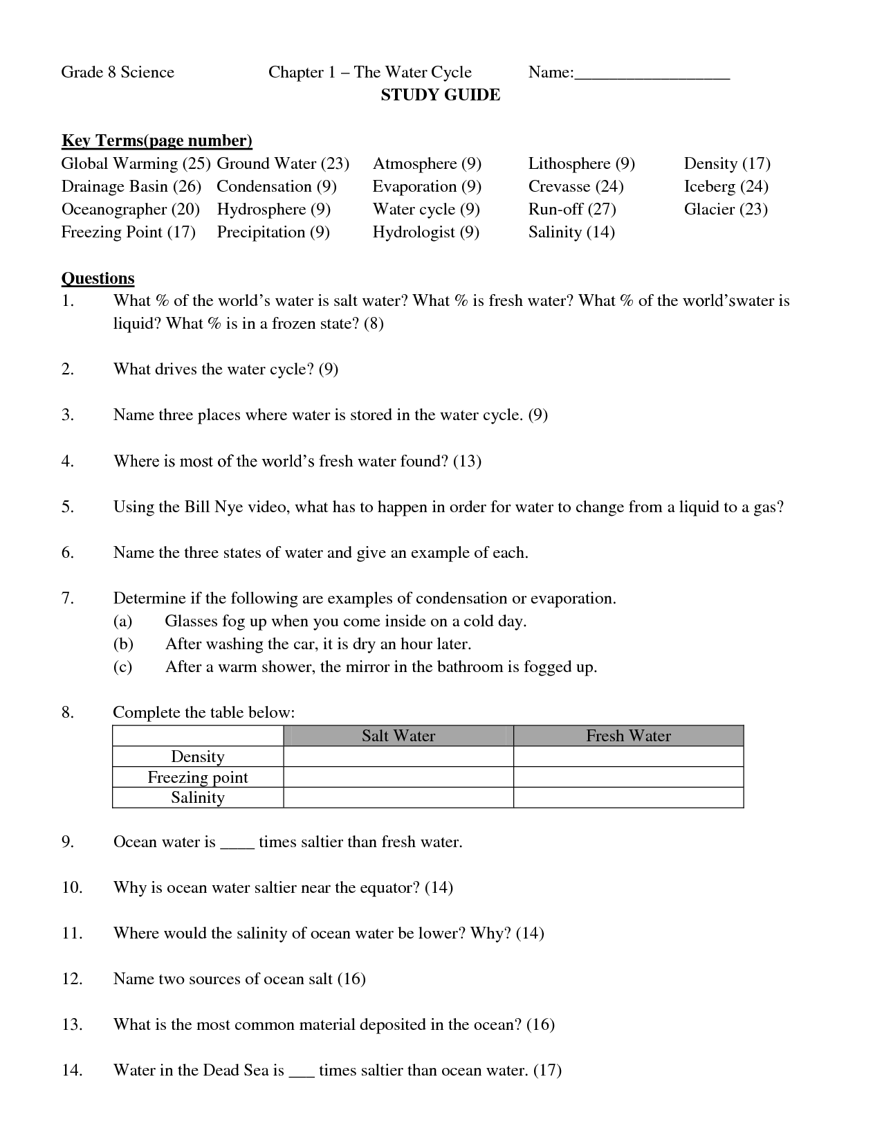 Bill Nye Atmosphere Worksheet For Tomlin