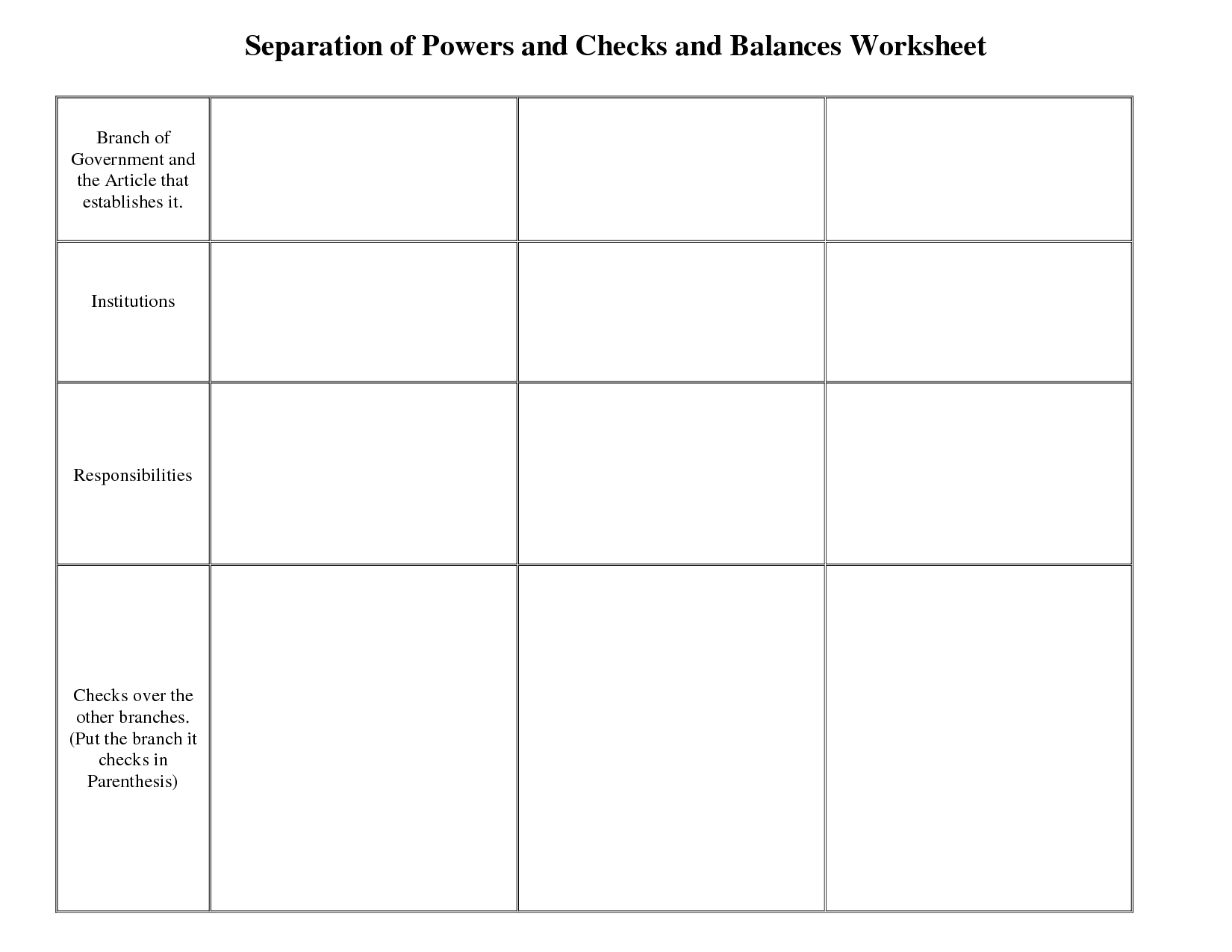 10 Best Images Of Constitution Checks And Balances Worksheet