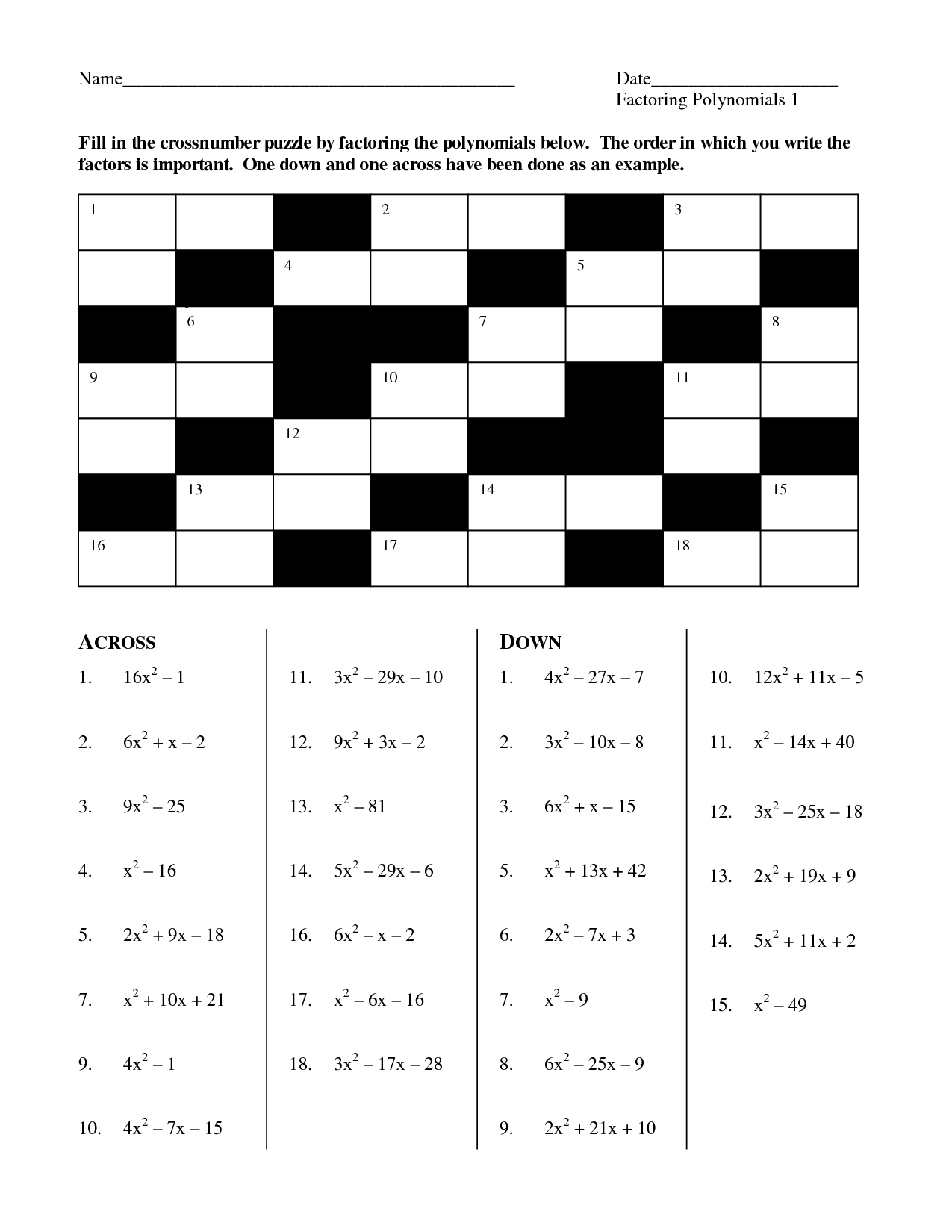 Teacher Worksheet Crossword
