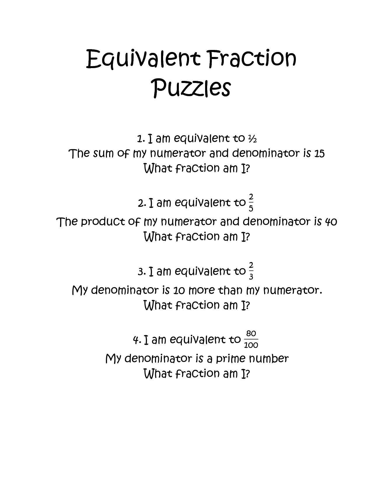 12 Best Images Of Fraction Puzzle Worksheets