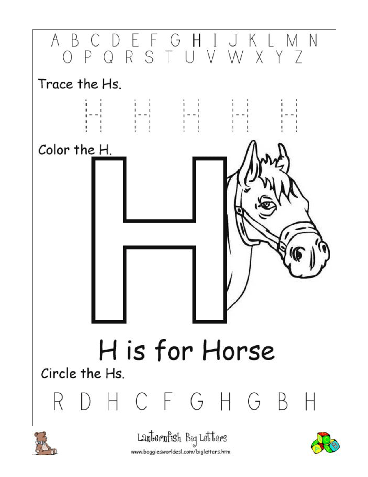 5 Best Images Of Letter H Writing Worksheets