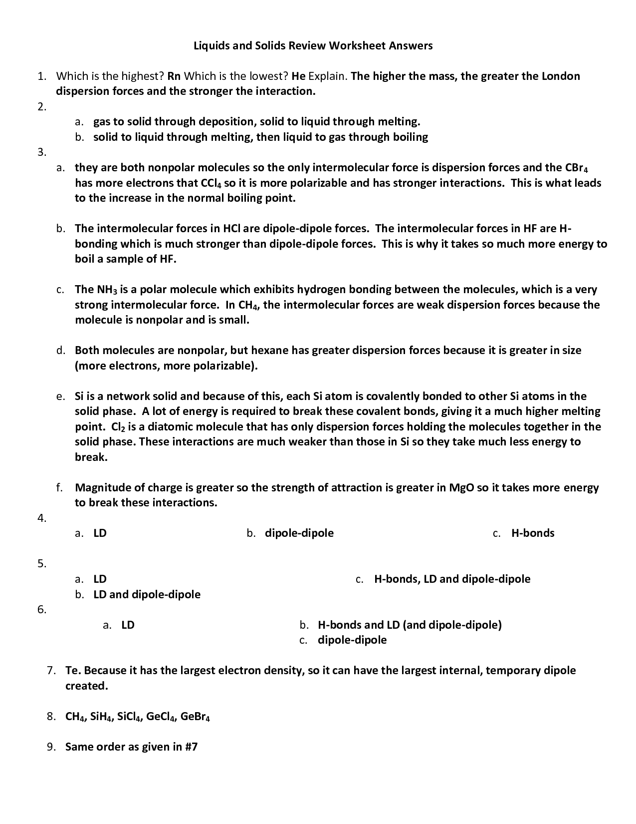 13 Best Images Of Intermolecular Forces Worksheet Answers