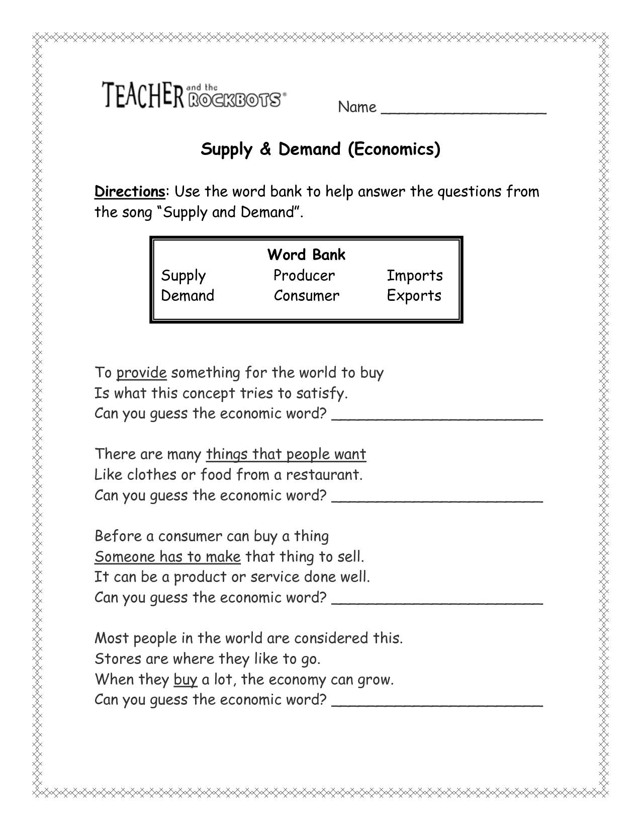 Elasticity Worksheet Answers