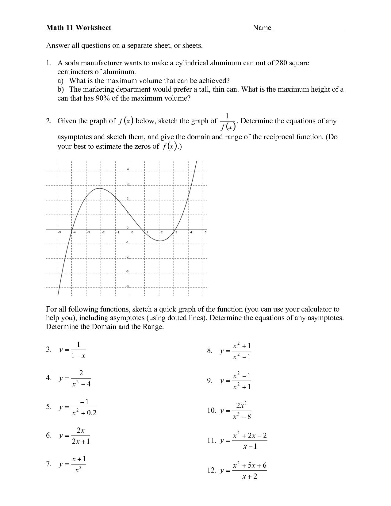 Algebra Worksheet Grade 11
