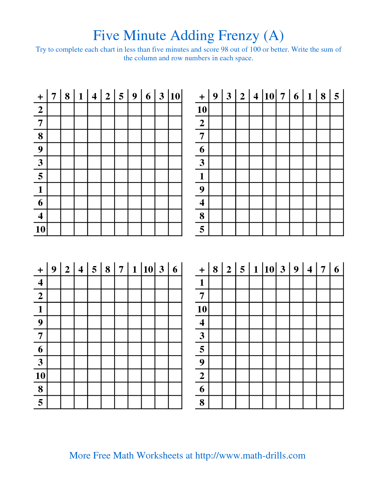 Old Five Minute Frenzy One Per Page A Addition Space Math
