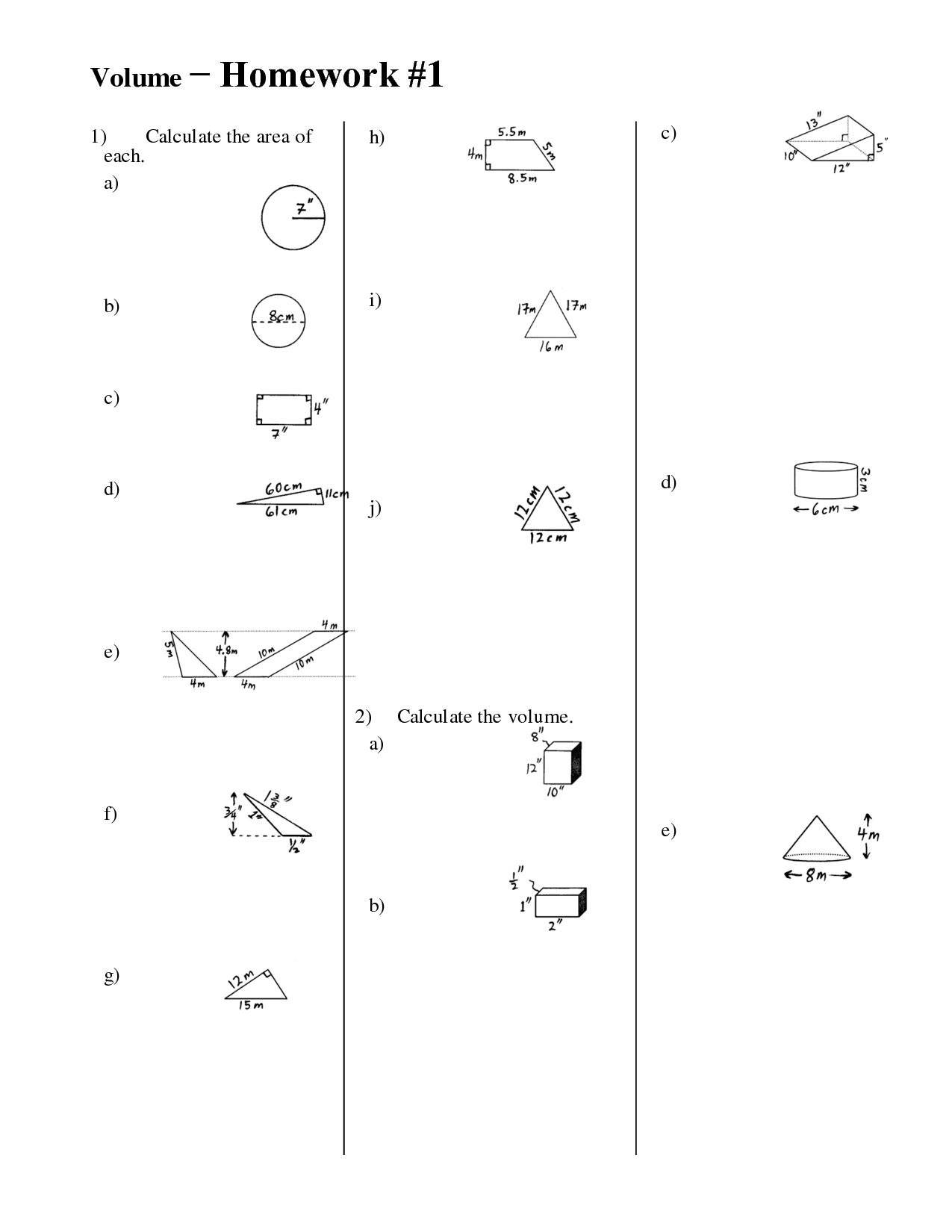 Volume Worksheet For Grade 3