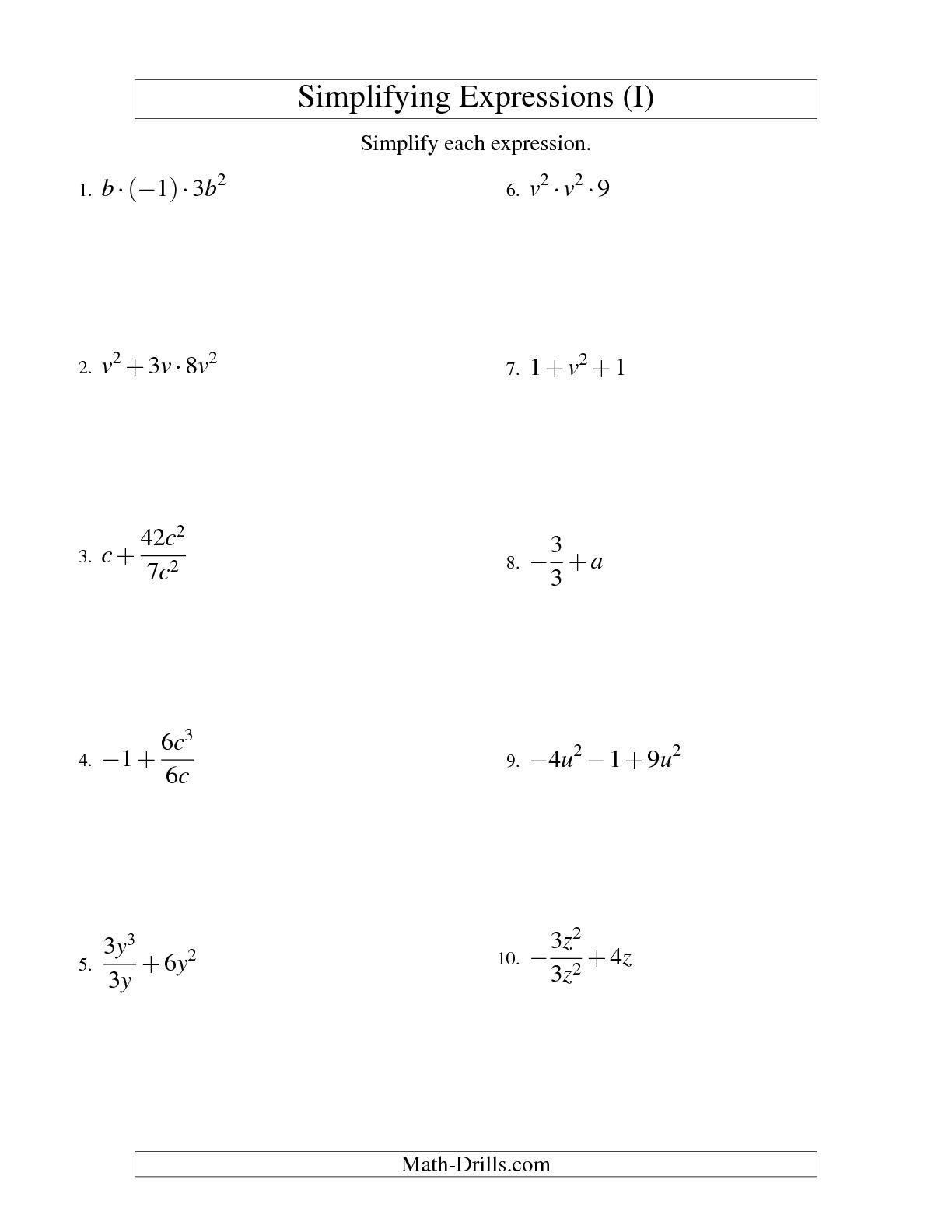 19 Best Images Of Variable Worksheets For Algebra 1