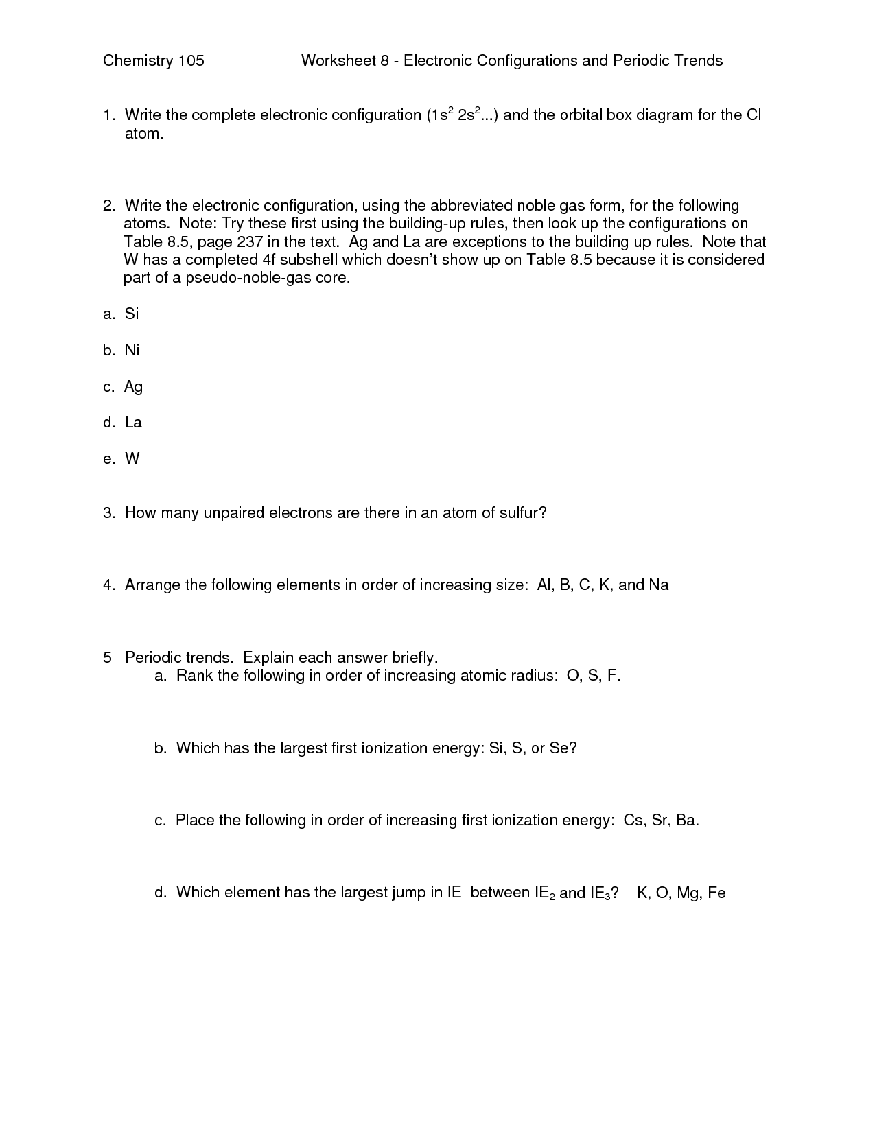 20 Best Images Of Periodic Trends Worksheet Answers Key