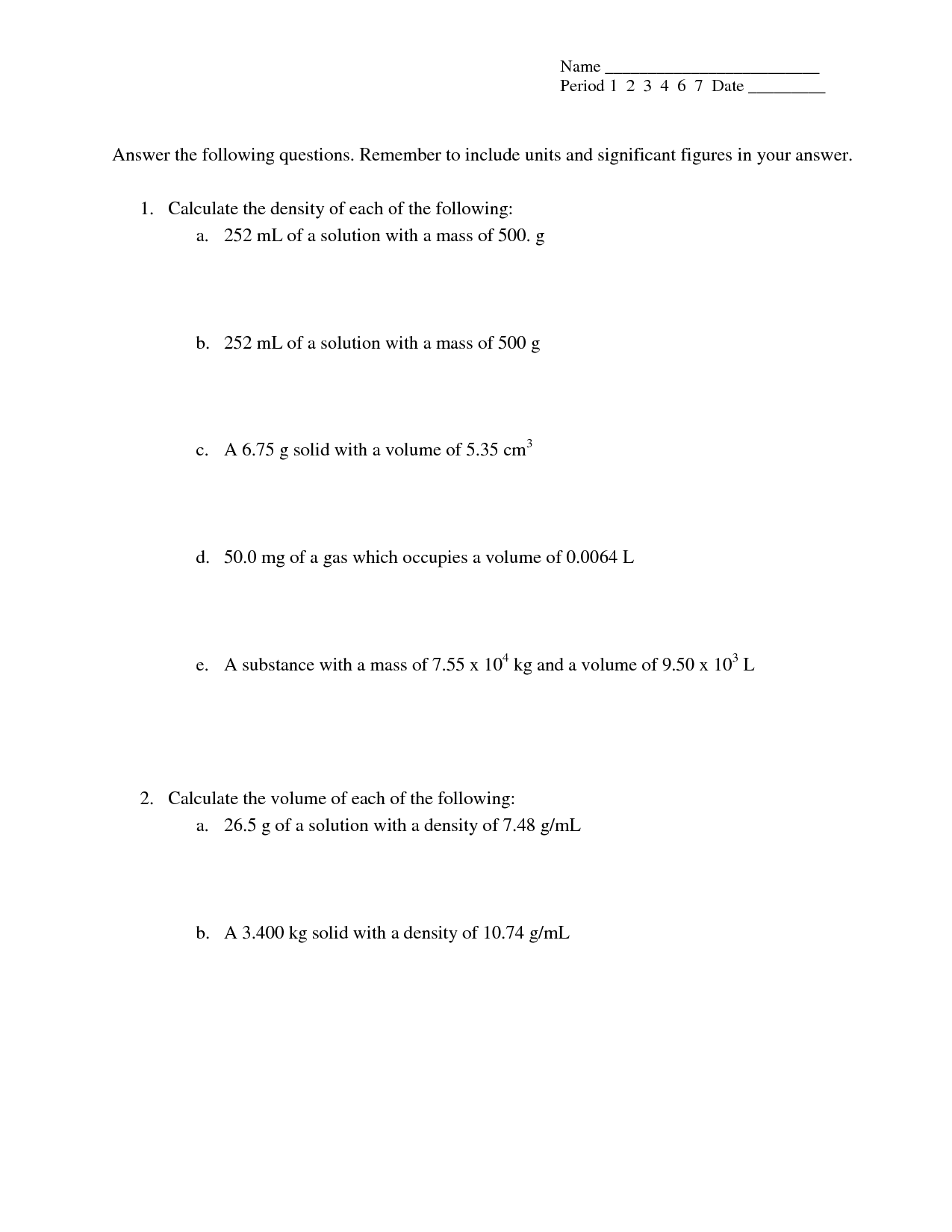 Density Calculations Worksheet Answers