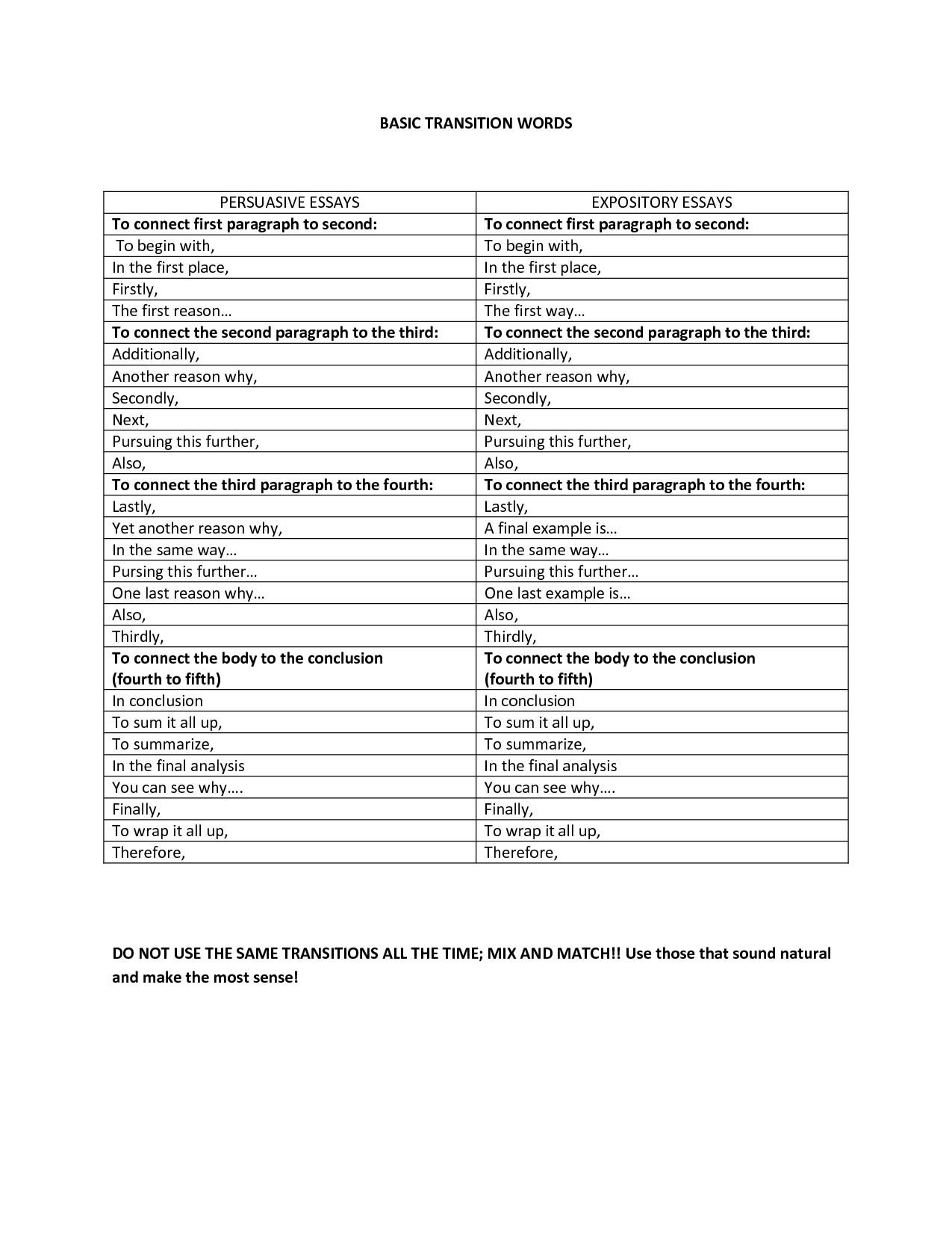 Flashback Worksheet Transitions