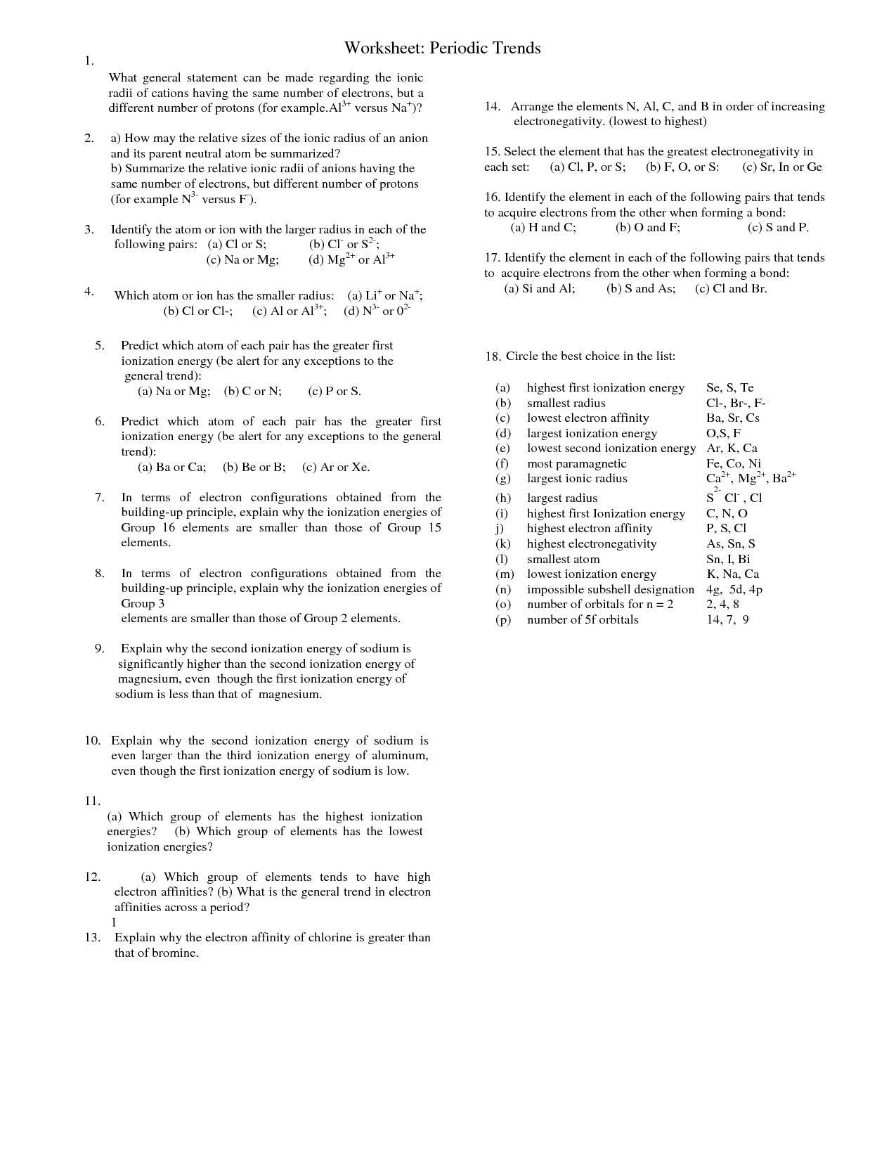 Periodic Trends Pogil Worksheet Answers