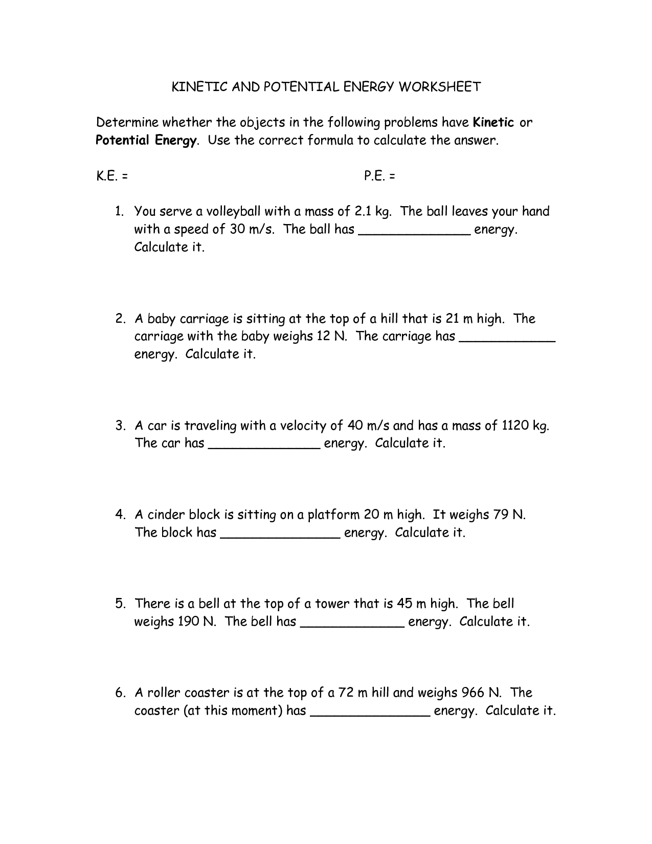 Kinetic And Potential Energy Conversion Worksheet
