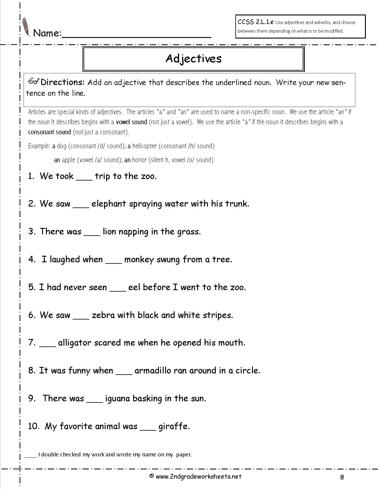 Article Adjective Practice Worksheet