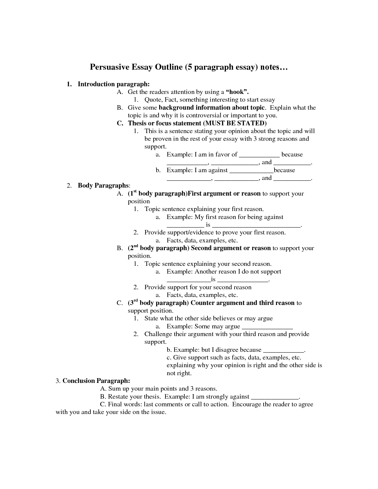14 Best Images Of College Essay Outline Worksheet