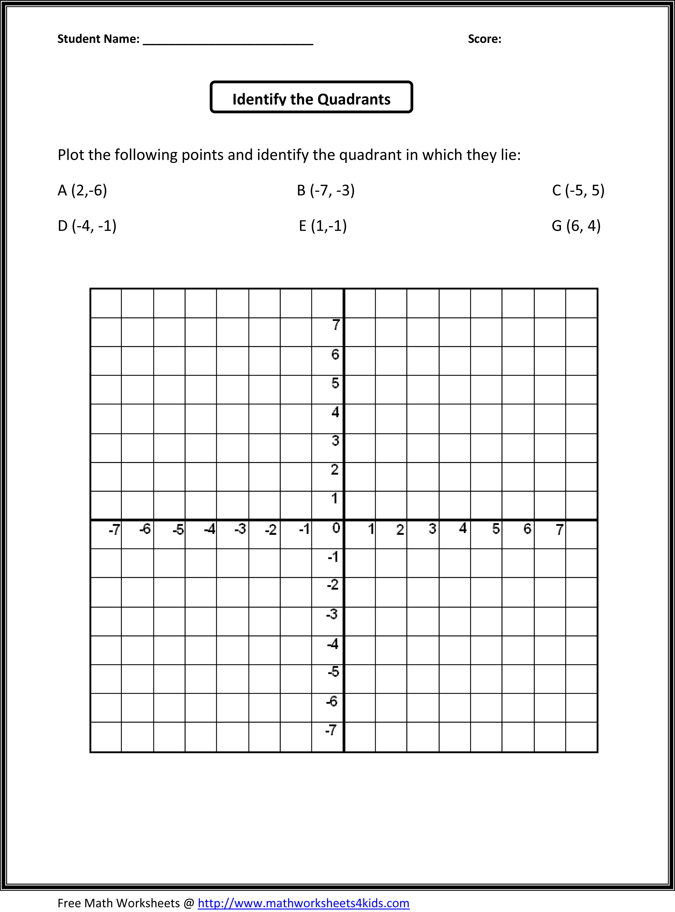 6th Grade Math Graph Worksheet