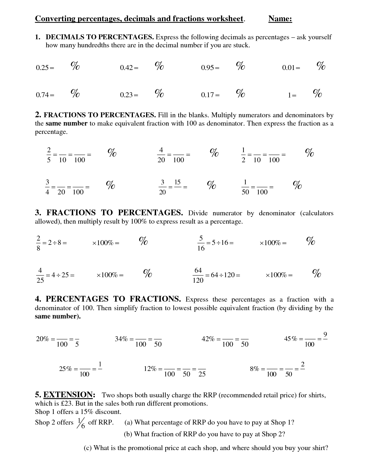 Converting Benchmark Fractions To Decimals Worksheet