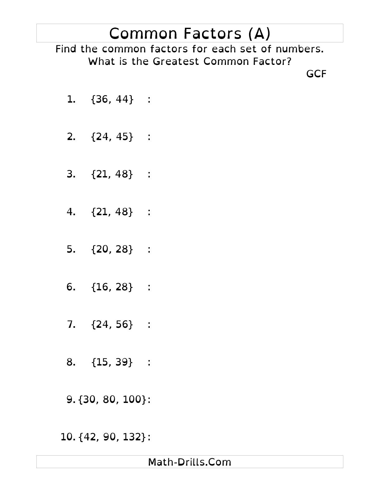 17 Best Images Of Greatest Common Factor Worksheets