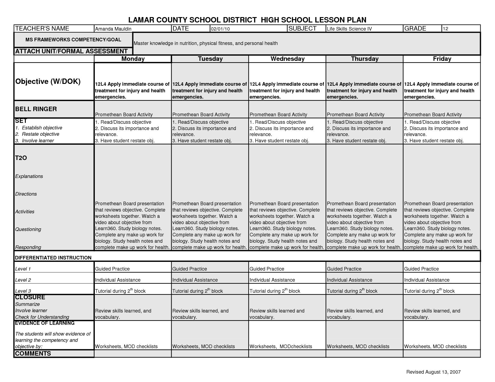 Wetland Student Worksheet