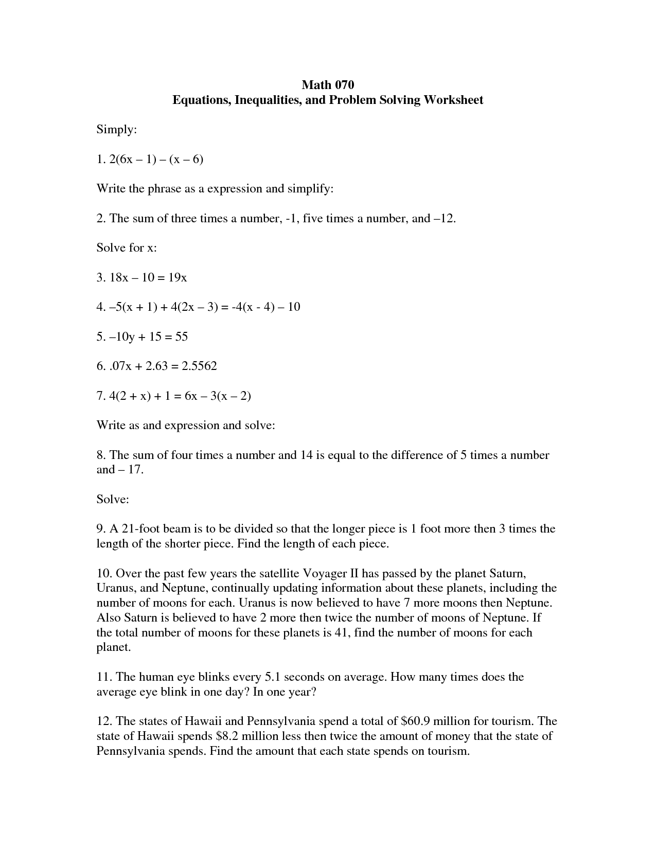 16 Best Images Of Life Problem Solving Worksheets