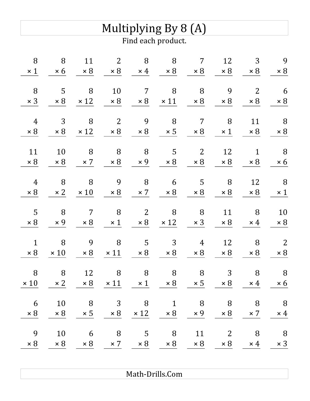 11 Best Images Of Times Tables Worksheets 1 12