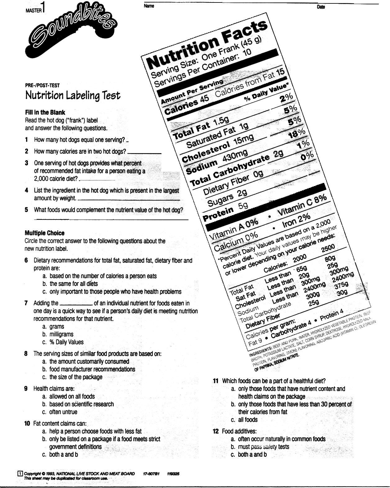 12 Best Images Of Food Nutrition Labels Worksheet