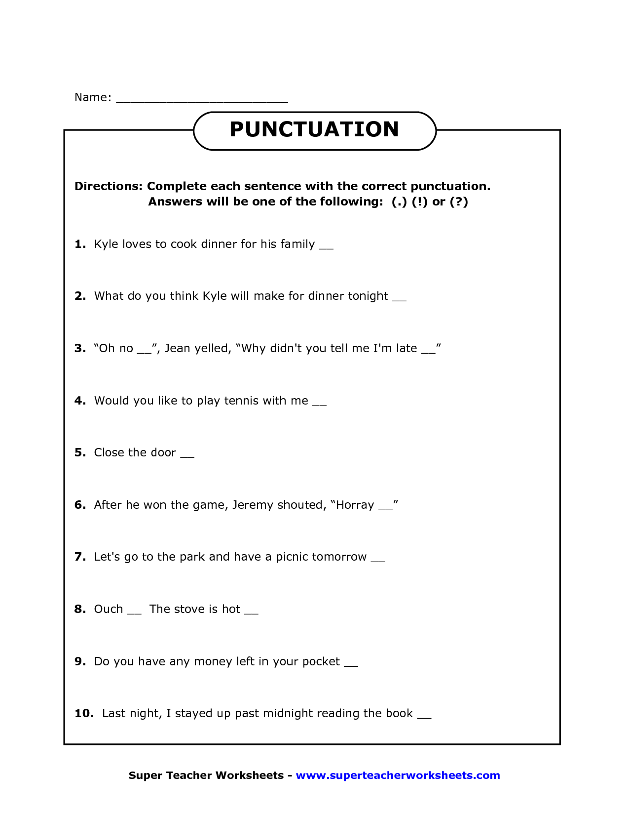 19 Best Images Of Punctuation Worksheets Grade 3