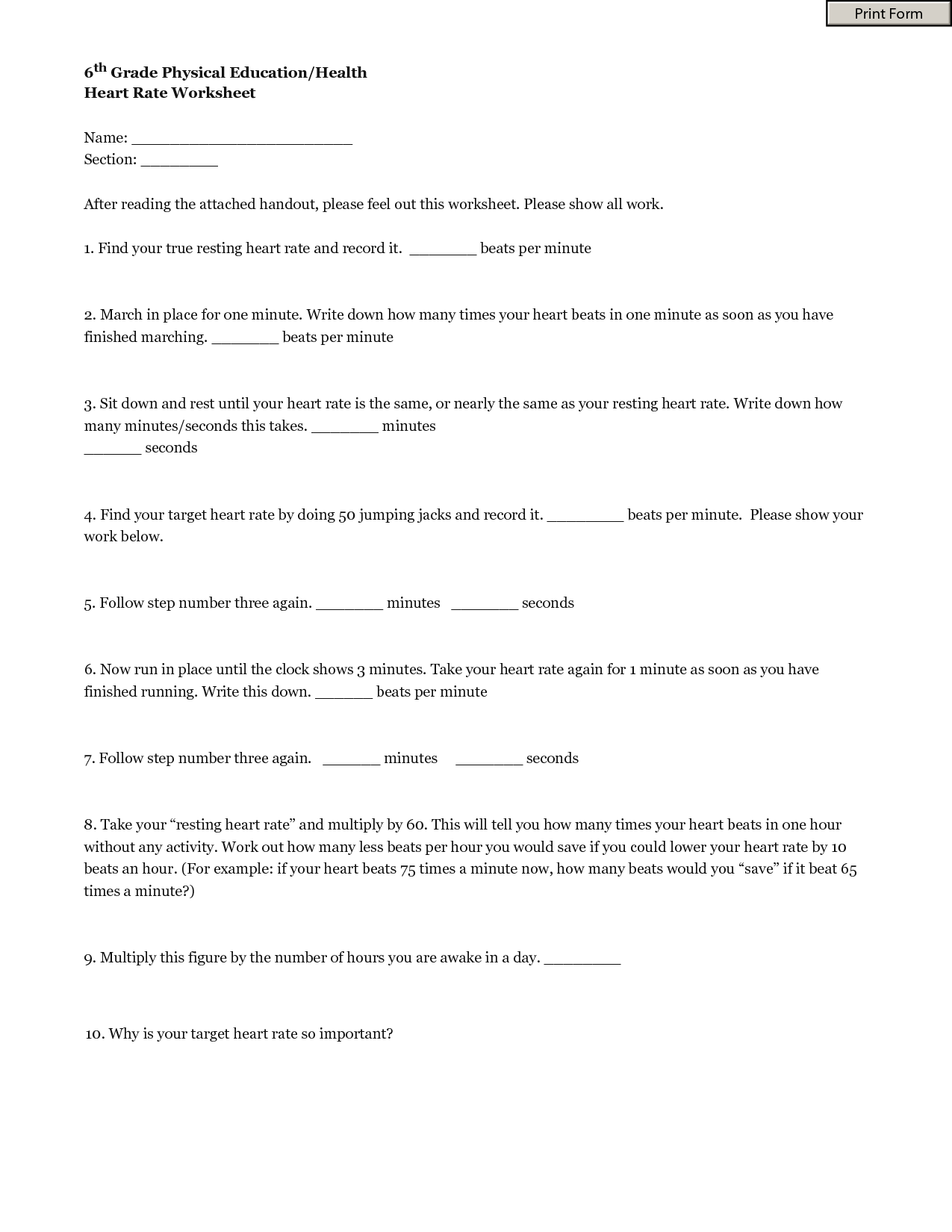 13 Best Images Of 6th Grade Health Class Worksheet