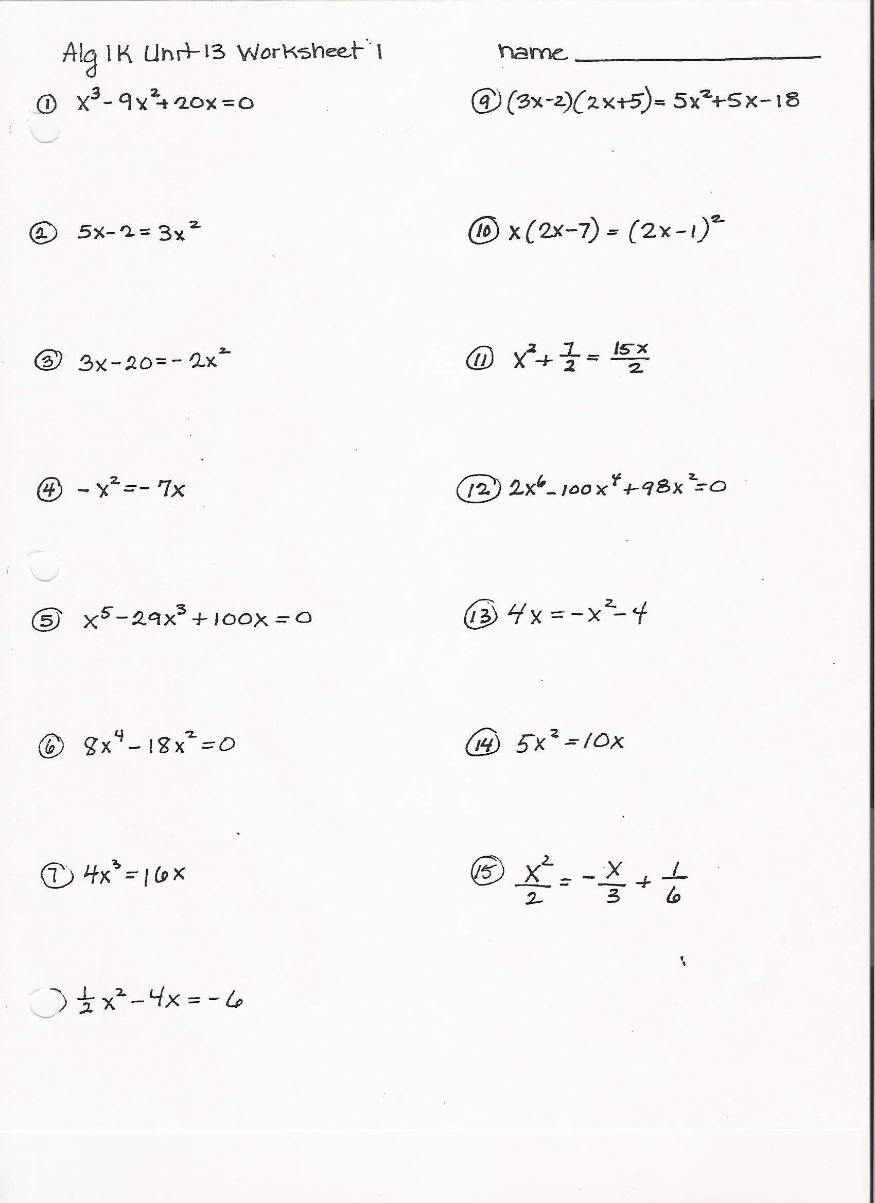 Factoring Worksheet Polynomials