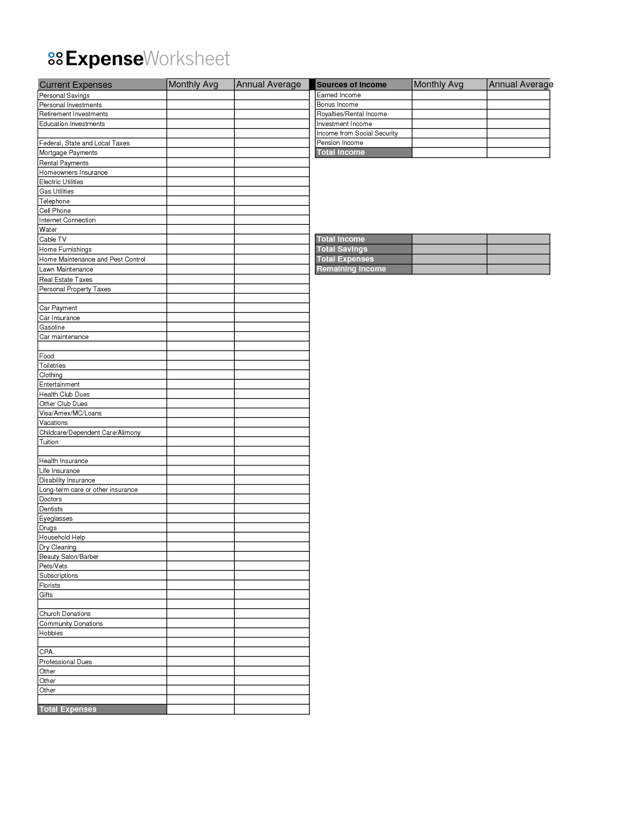 14 Best Images Of Blank Worksheet Budget Sheet