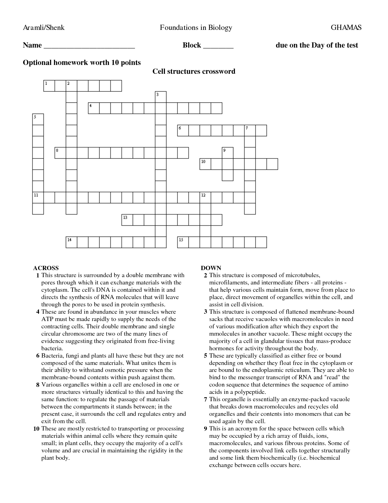 15 Best Images Of Enzyme Worksheet Crossword Puzzles