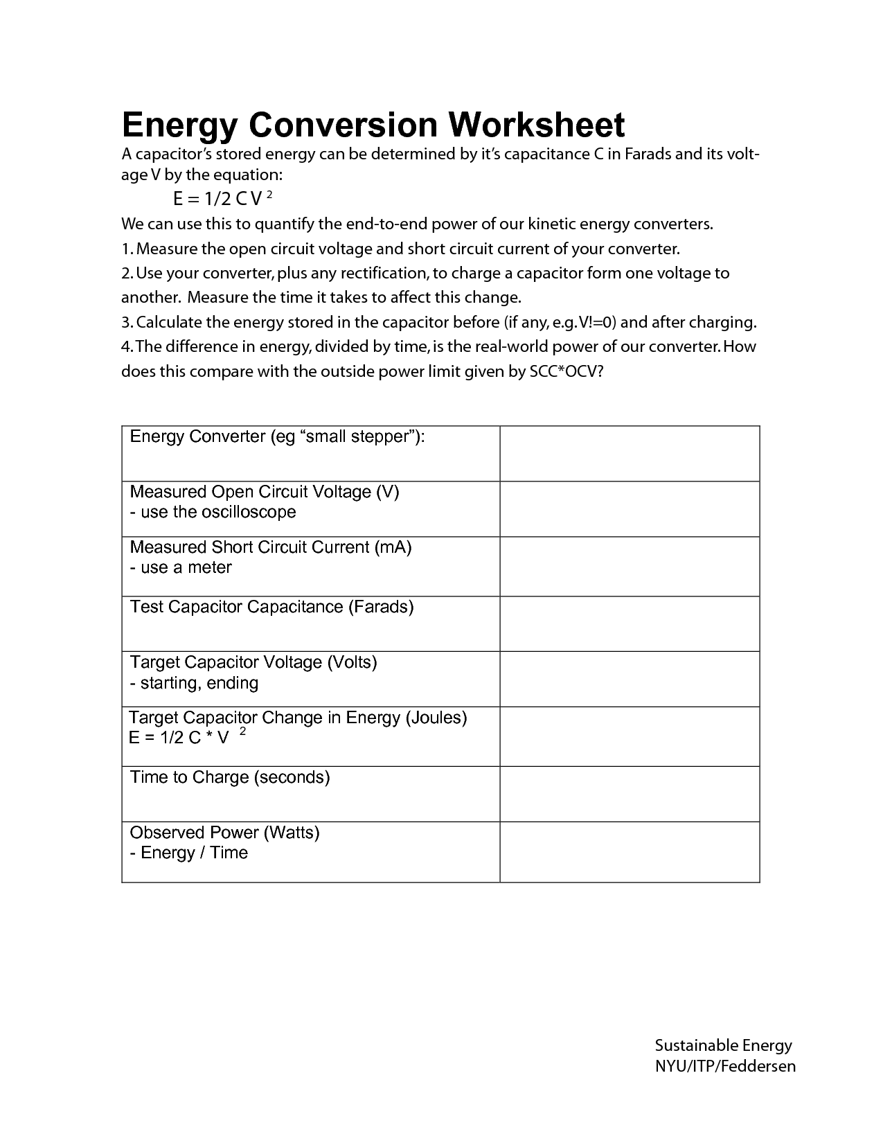 Worksheet On Energy Transformation
