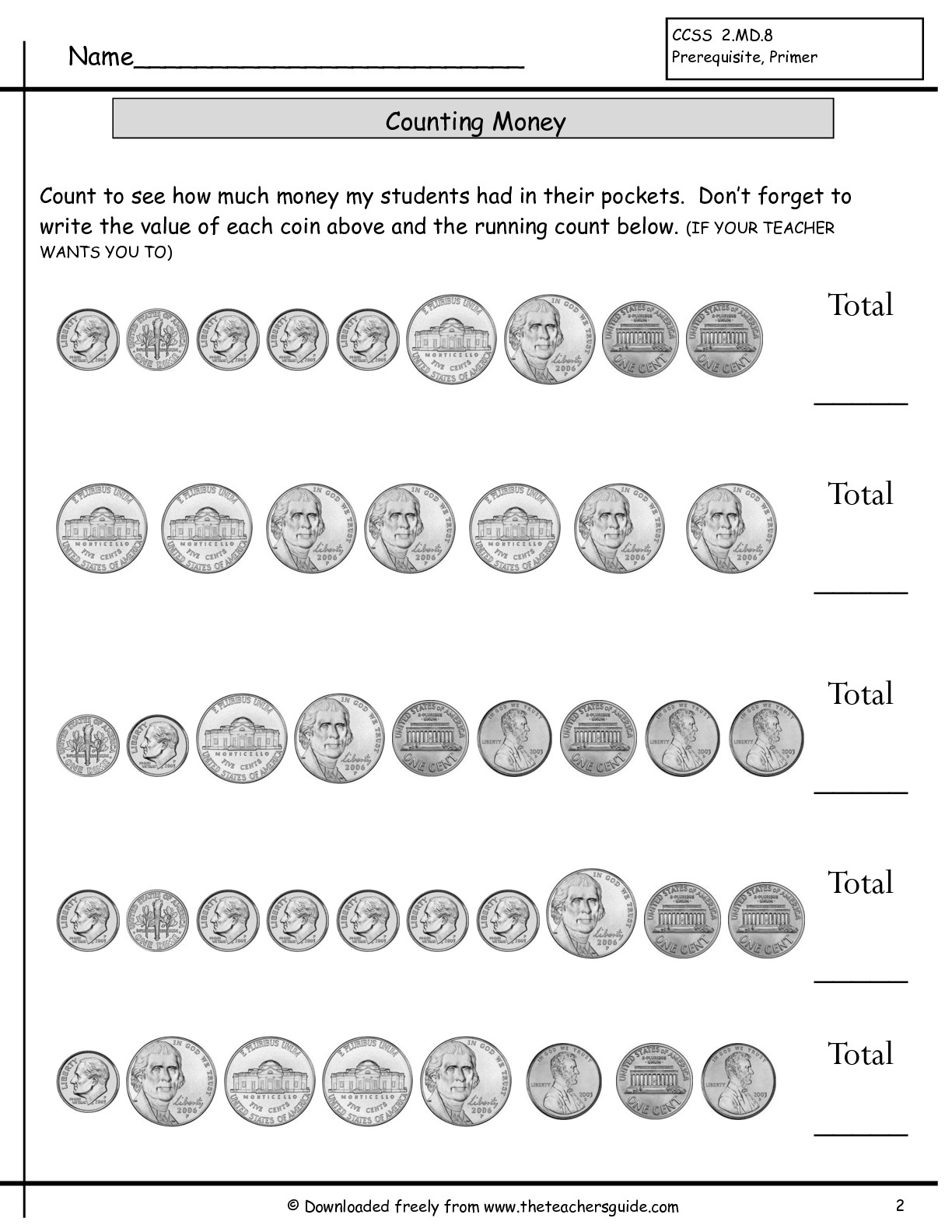 8 Best Images Of Teaching Money Worksheets