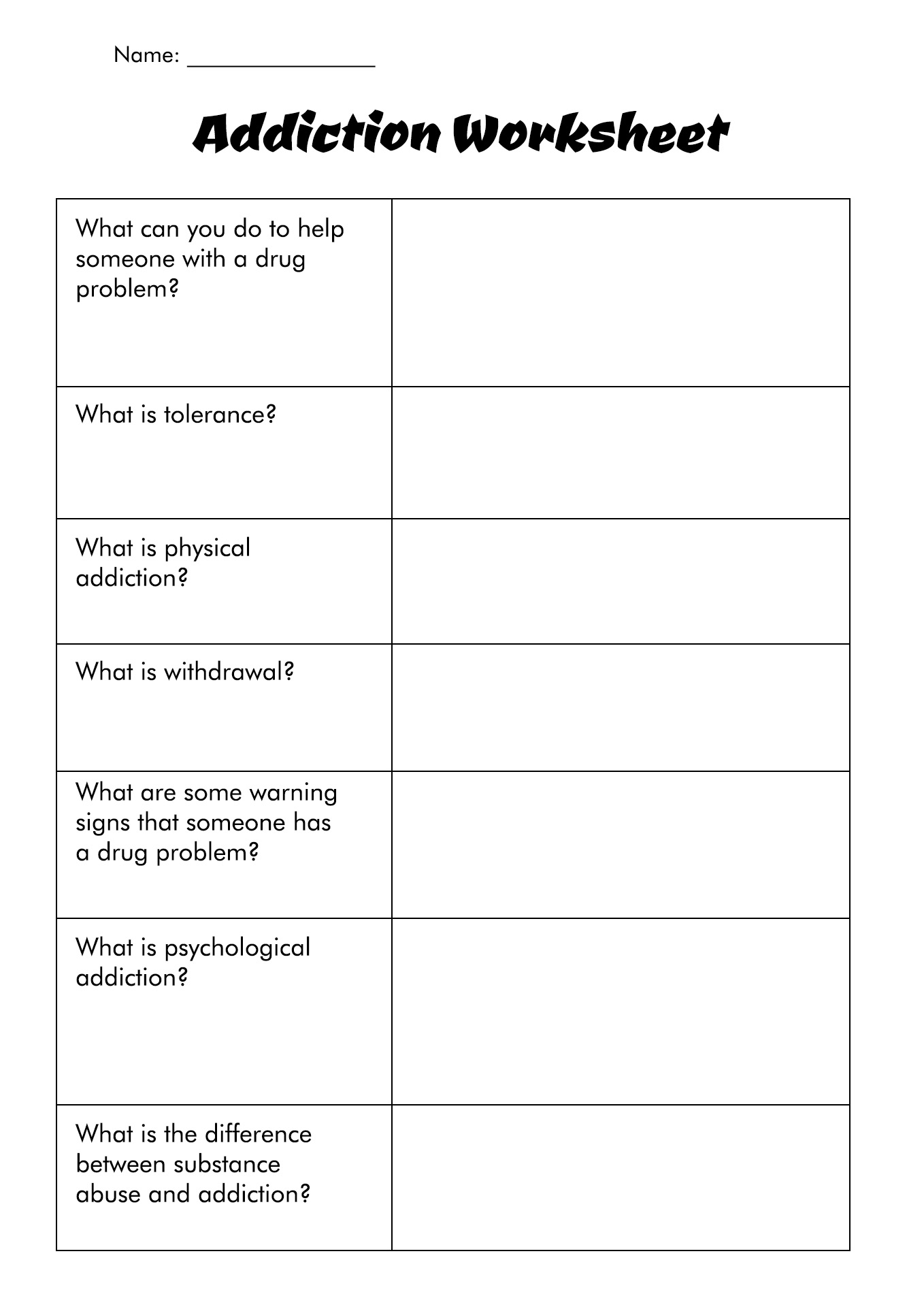 18 Best Images Of Treatment Plan Substance Abuse Worksheets