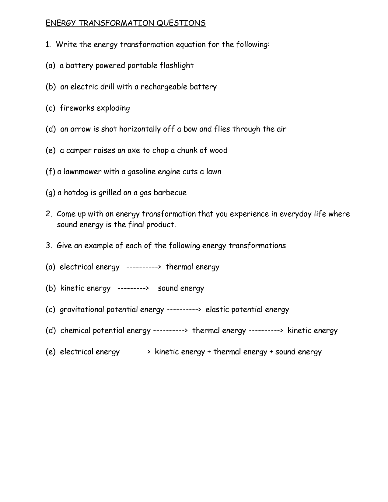 17 Best Images Of Energy Transformation Worksheet Answers