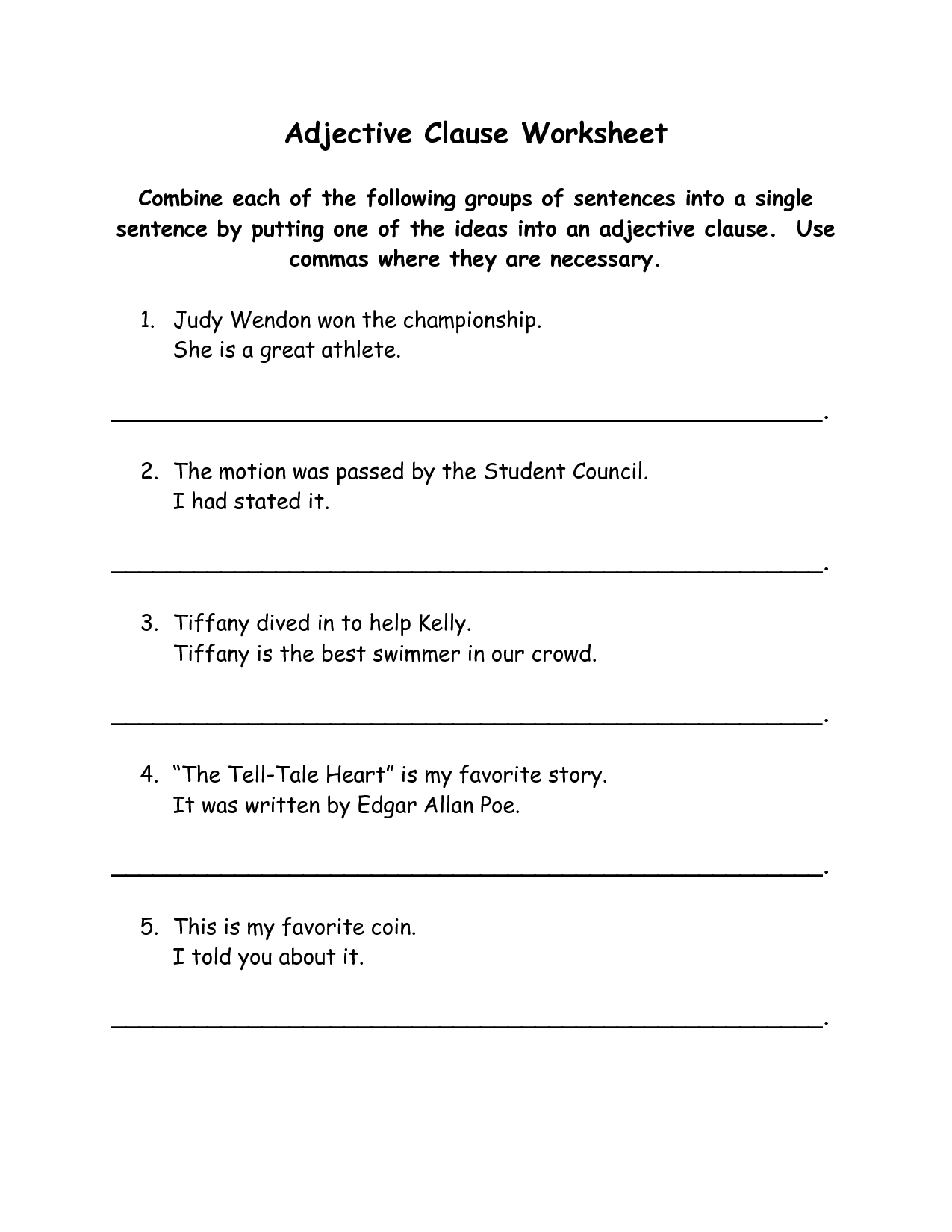10 Best Images Of Clauses Sentence Types Worksheets
