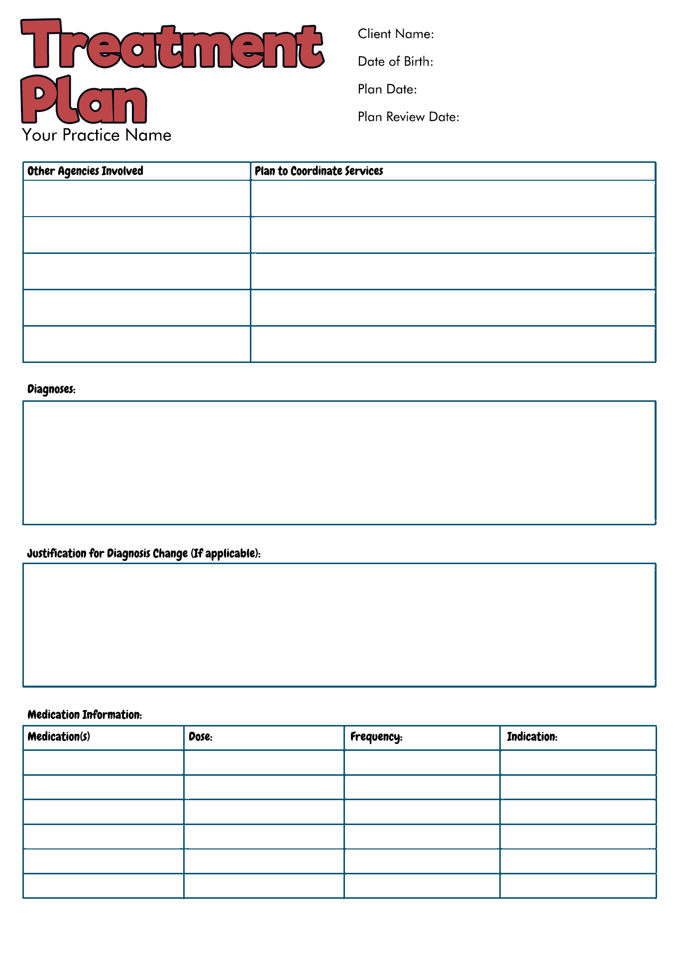 Treatment Plan Worksheet