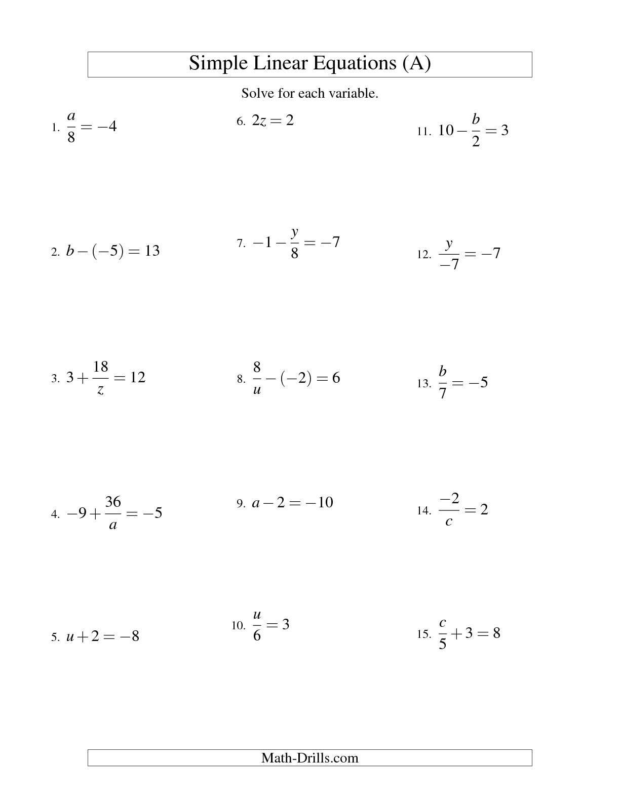 9 Best Images Of Solving Equations Worksheet 7th Grade