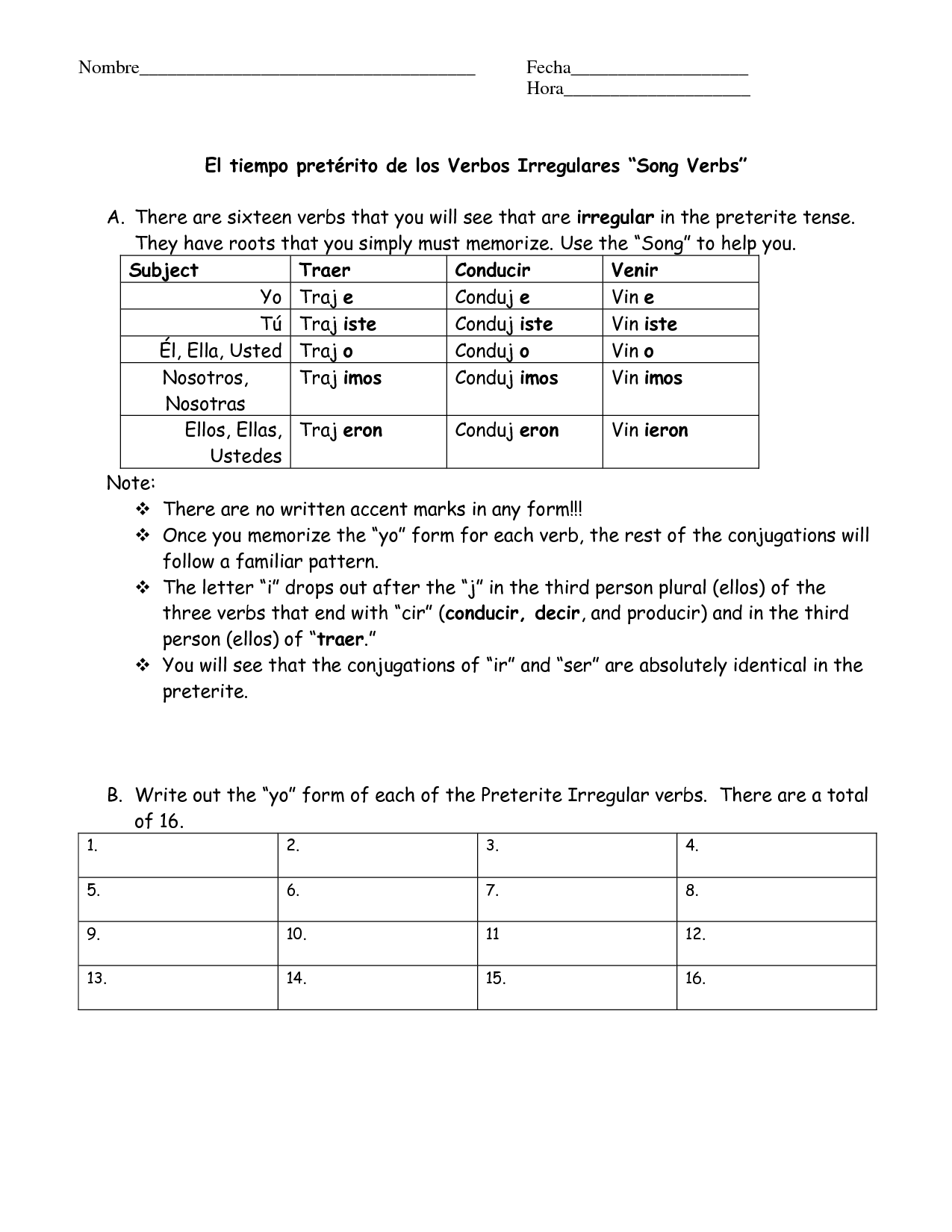 15 Best Images Of Spanish Preterite Worksheets