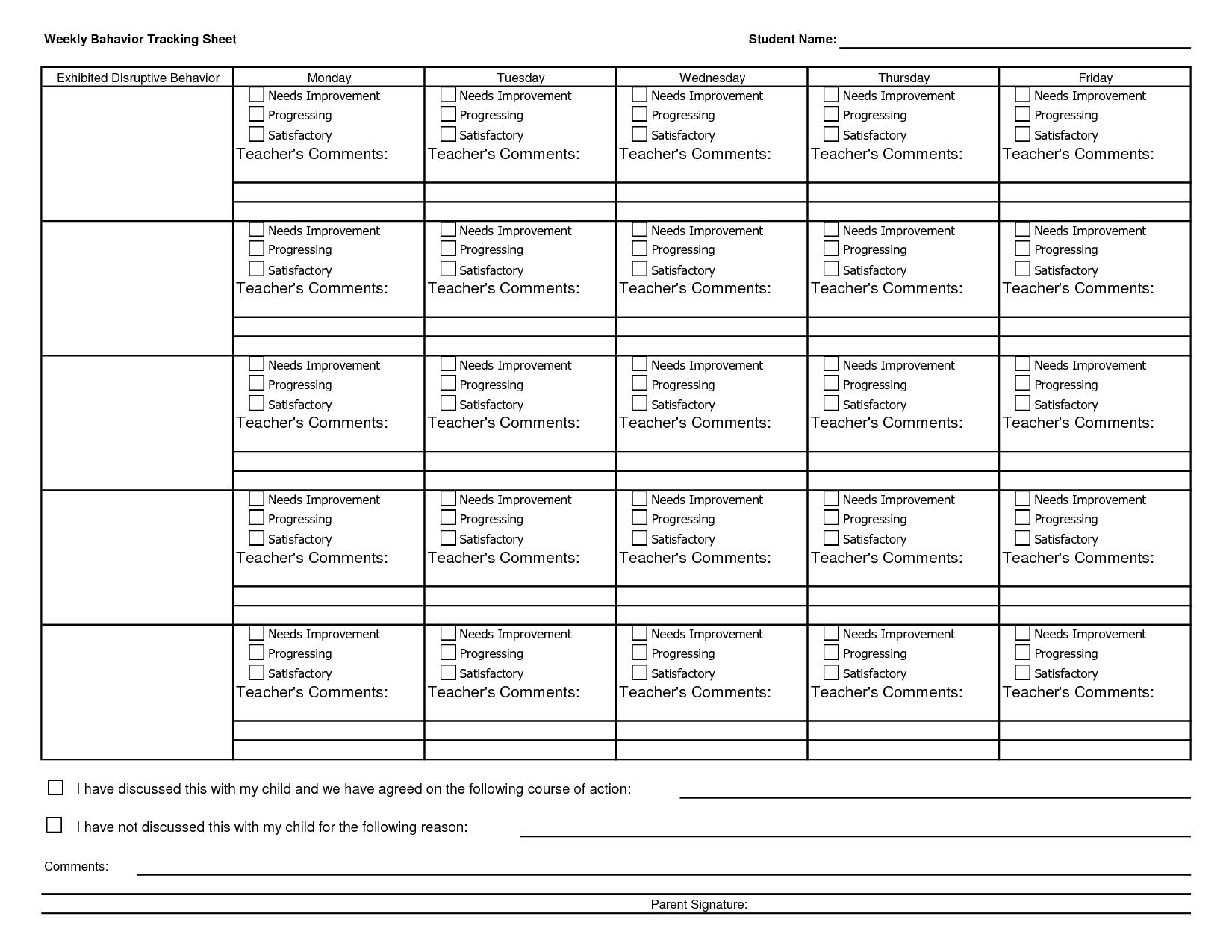 Student Tracking Worksheet