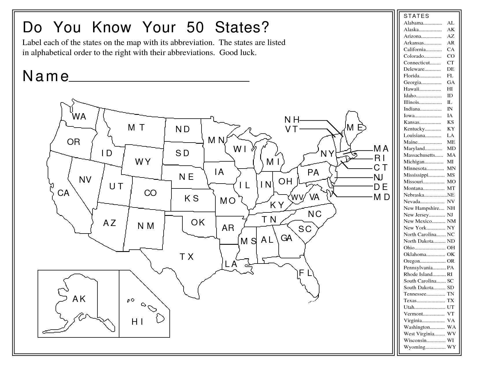 31 Name The States Worksheet