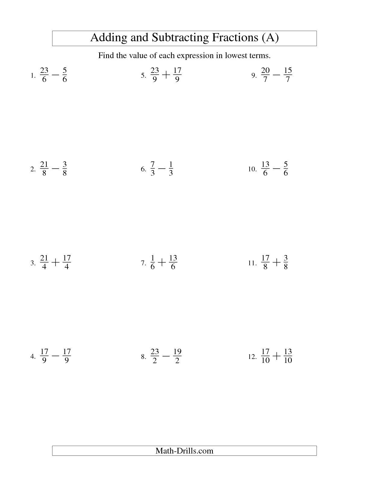 Worksheet On Like Fractions