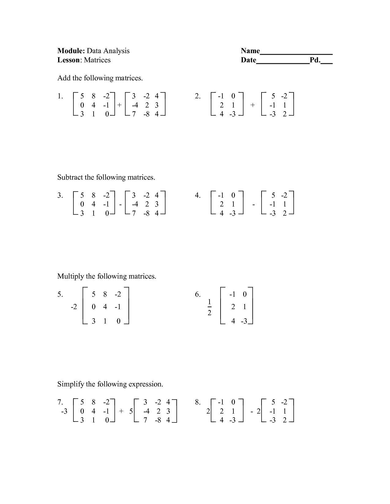 16 Best Images Of Matrix Algebra Worksheets