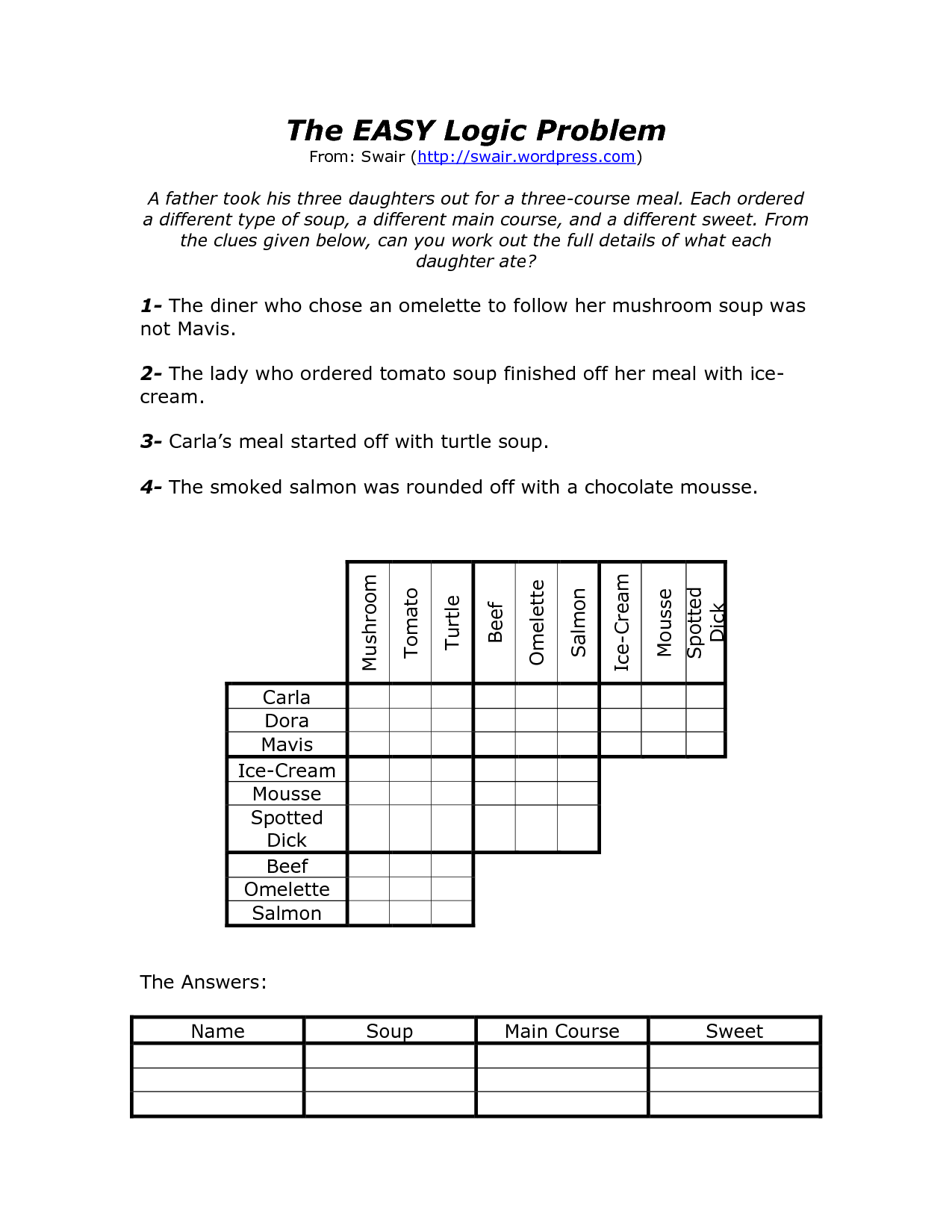 10 Best Images Of Logic Puzzles Worksheets
