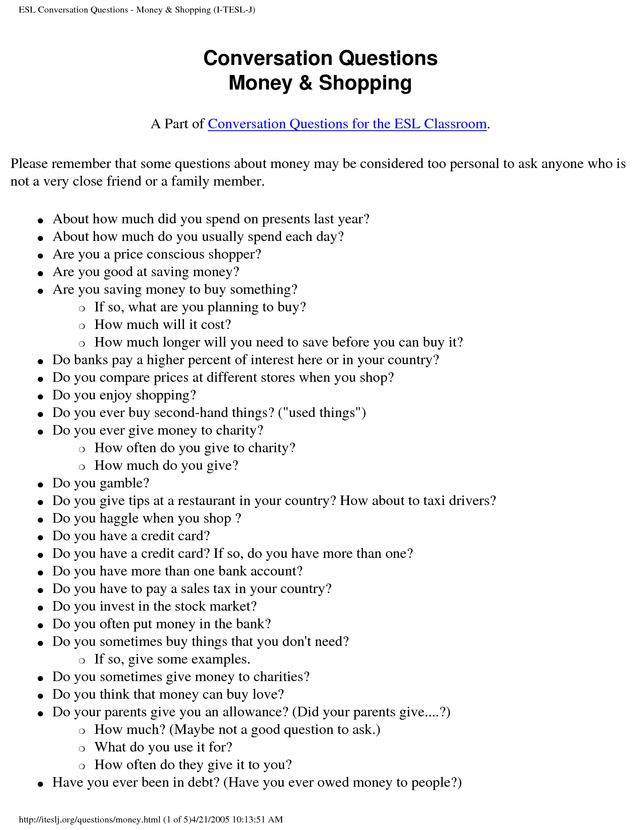 14 Best Images Of Esl Conversation Worksheets