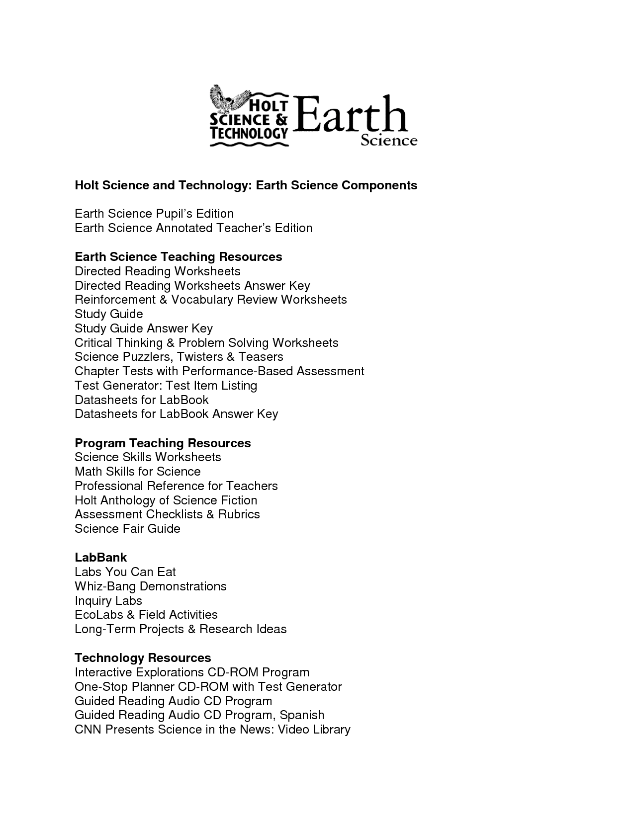 28 Holt Earth Science Skills Worksheet Answers