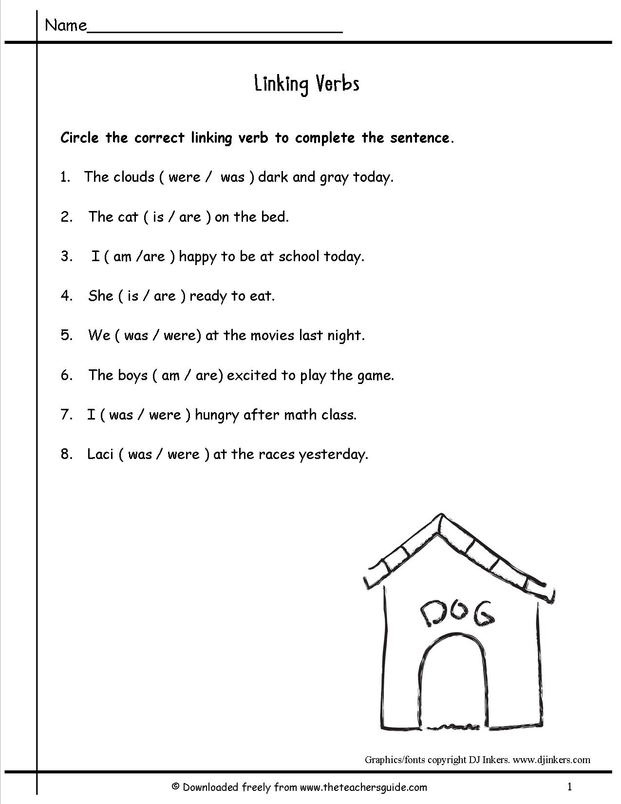 Verb Worksheet Key Stage 1