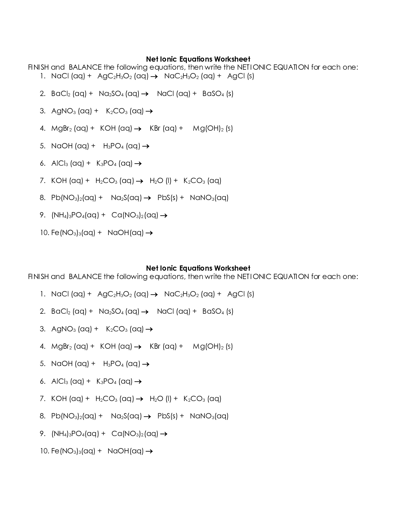 Net Ionic Equations Advanced Chem Worksheet 10 4 Answer Key