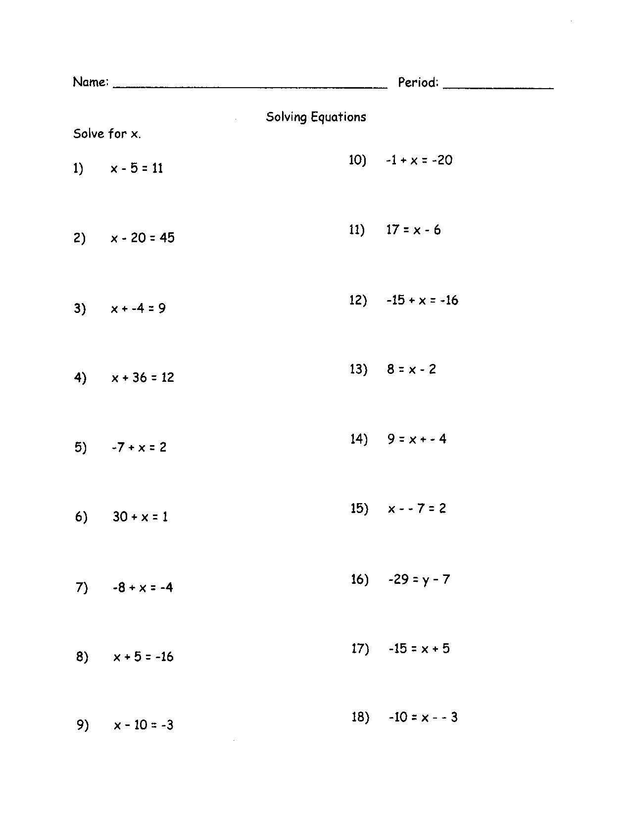 14 Best Images Of Linear Equations Worksheet 7th Grade