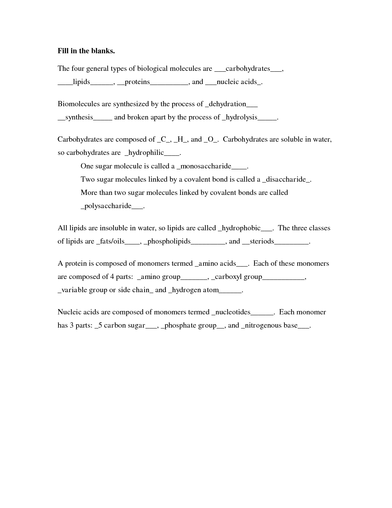 35 Carbohydrates Fats And Proteins Worksheet